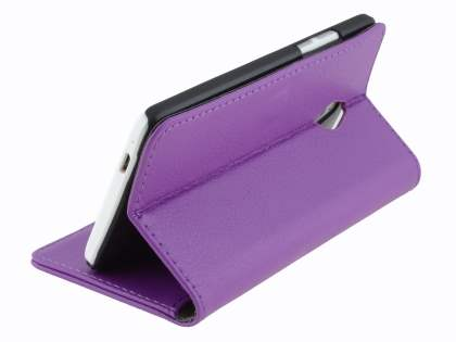 HTC One Mini M4 Slim Synthetic Leather Wallet Case with Stand - Purple