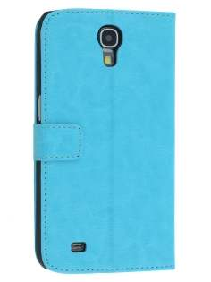Synthetic Leather Wallet Case with Stand for Samsung Galaxy Mega 6.3 I9200 - Aqua Blue Leather Wallet Case
