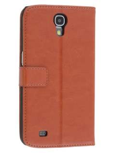 Synthetic Leather Wallet Case with Stand for Samsung Galaxy Mega 6.3 I9200 - Brown Leather Wallet Case