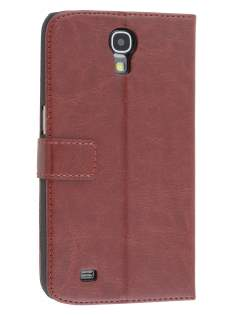 Synthetic Leather Wallet Case with Stand for Samsung Galaxy Mega 6.3 I9200 - Chocolate Leather Wallet Case
