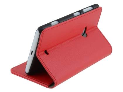 Nokia Lumia 625 Synthetic Leather Wallet Case with Stand - Red