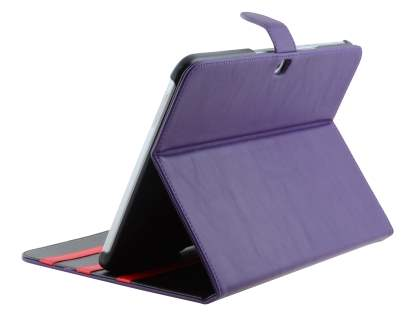 Synthetic Leather Flip Case with Dual-Angle Tilt Stand for Samsung Galaxy Tab 3 10.1 - Purple Leather Flip Case