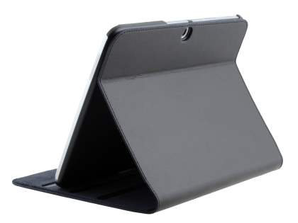 Slim Genuine Leather Portfolio Case with Stand for Samsung Galaxy Tab 3 10.1 - Classic Black Leather Flip Case