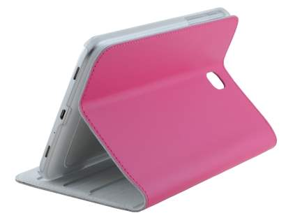 Premium Genuine Leather Slim Portfolio Case with Stand for Samsung Galaxy Tab 3 7.0 - Pink Leather Flip Case