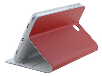 Premium Genuine Leather Slim Portfolio Case with Stand for Samsung Galaxy Tab 3 7.0 - Red Leather Flip Case