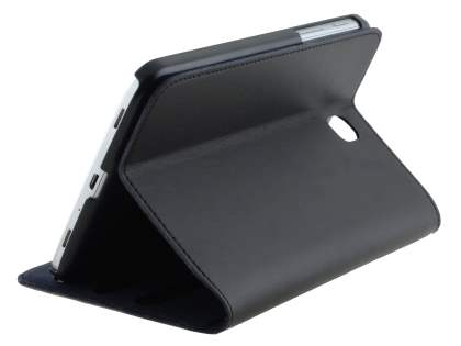 Premium Genuine Leather Slim Portfolio Case with Stand for Samsung Galaxy Tab 3 7.0 - Classic Black Leather Flip Case