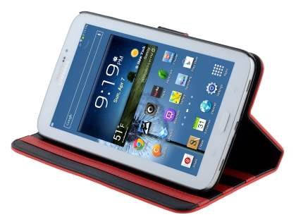 Samsung Galaxy Tab 3 7.0 Synthetic Leather Flip Case with Dual-Angle Tilt Stand - Red