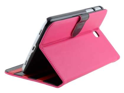 Synthetic Leather Flip Case with Dual-Angle Tilt Stand for Samsung Galaxy Tab 3 7.0 - Pink Leather Flip Case