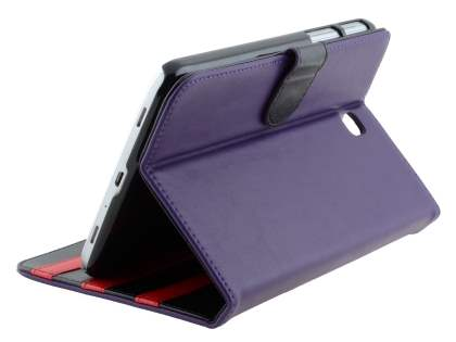 Synthetic Leather Flip Case with Dual-Angle Tilt Stand for Samsung Galaxy Tab 3 7.0 - Purple Leather Flip Case