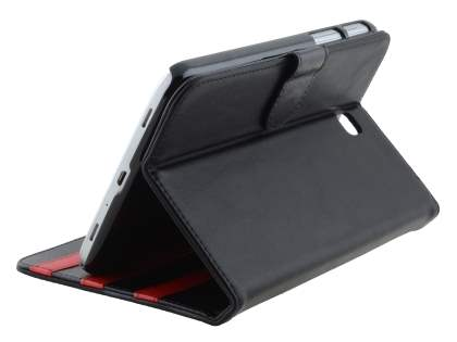 Synthetic Leather Flip Case with Dual-Angle Tilt Stand for Samsung Galaxy Tab 3 7.0 - Classic Black Leather Flip Case