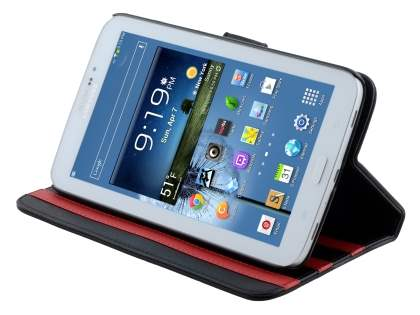 Synthetic Leather Flip Case with Dual-Angle Tilt Stand for Samsung Galaxy Tab 3 7.0 - Classic Black