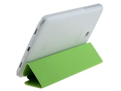Book-Style Case with Stand for Samsung Galaxy Tab 3 7.0 - Green/Frosted Clear Leather Flip Case
