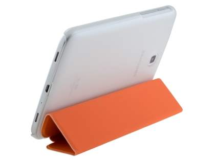 Book-Style Case with Stand for Samsung Galaxy Tab 3 7.0 - Orange/Frosted Clear Leather Flip Case
