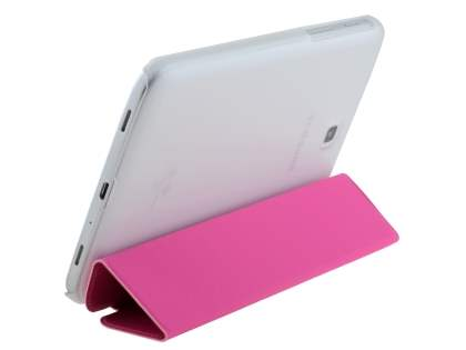 Book-Style Case with Stand for Samsung Galaxy Tab 3 7.0 - Pink/Frosted Clear Leather Flip Case