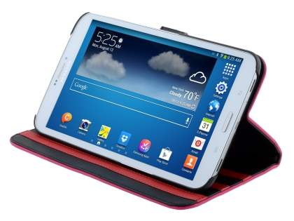 Synthetic Leather Flip Case with Dual-Angle Tilt Stand for Samsung Galaxy Tab 3 8.0 - Pink