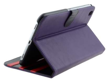 Synthetic Leather Flip Case with Dual-Angle Tilt Stand for Samsung Galaxy Tab 3 8.0 - Purple Leather Flip Case