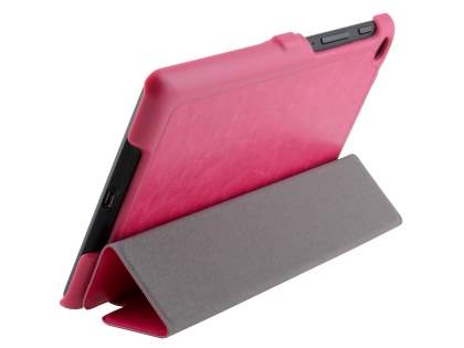 Slim Synthetic Leather Flip Case with Stand for Asus Google Nexus 7 2013 - Pink Leather Flip Case