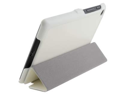 Slim Synthetic Leather Flip Case with Stand for Asus Google Nexus 7 2013 - Pearl White Leather Flip Case