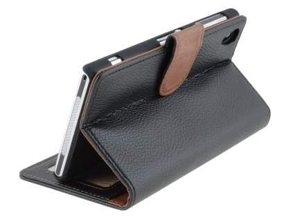 Synthetic Leather Wallet Case with Stand for Sony Xperia Z1 - Classic Black