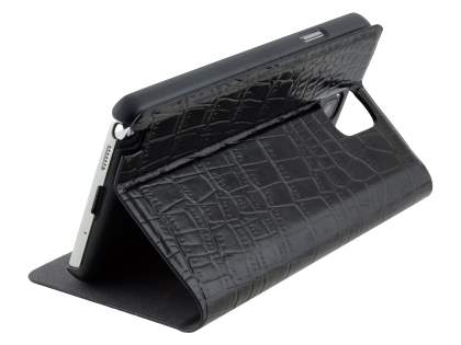 TS-CASE crocodile pattern Genuine leather Wallet Case for Samsung Galaxy Note 3 - Classic Black