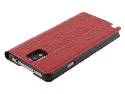 TS-CASE crocodile pattern Genuine leather Wallet Case for Samsung Galaxy Note 3 - Red