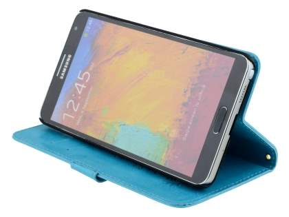 Samsung Galaxy Note 3 Slim Synthetic Leather Wallet Case with Stand - Aqua Blue