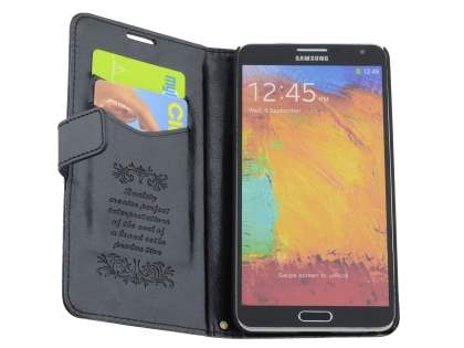 Samsung Galaxy Note 3 Slim Synthetic Leather Wallet Case with Stand - Classic Black