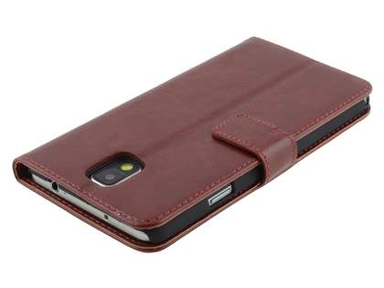 Synthetic Leather Wallet Case with Stand for Samsung Galaxy Note 3 - Chocolate