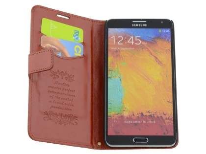 Synthetic Leather Wallet Case with Stand for Samsung Galaxy Note 3 - Brown