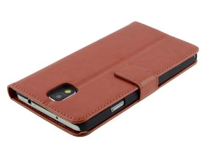 Samsung Galaxy Note 3 Slim Synthetic Leather Wallet Case with Stand - Brown