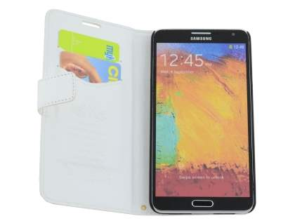 Synthetic Leather Wallet Case with Stand for Samsung Galaxy Note 3 - Pearl White