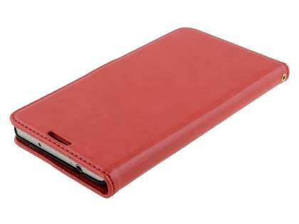 Samsung Galaxy Note 3 Slim Synthetic Leather Wallet Case with Stand - Red
