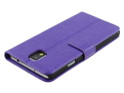 Samsung Galaxy Note 3 Slim Synthetic Leather Wallet Case with Stand - Purple