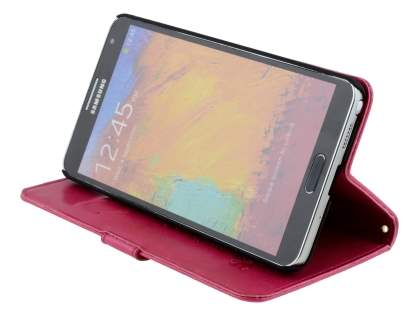 Samsung Galaxy Note 3 Slim Synthetic Leather Wallet Case with Stand - Pink