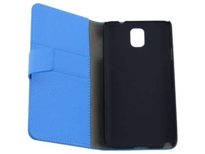 Samsung Galaxy Note 3 Synthetic Leather Wallet Case with Stand - Blue