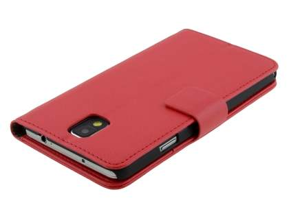 Samsung Galaxy Note 3 Synthetic Leather Wallet Case with Stand - Red