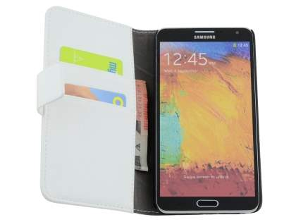 Samsung Galaxy Note 3 Synthetic Leather Wallet Case with Stand - Pearl White