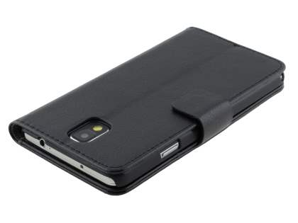 Synthetic Leather Wallet Case with Stand for Samsung Galaxy Note 3 - Classic Black