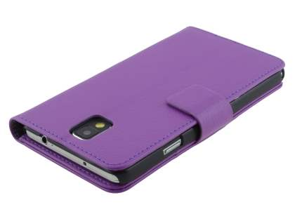 Samsung Galaxy Note 3 Synthetic Leather Wallet Case with Stand - Purple