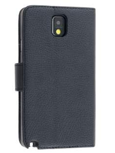 Synthetic Leather Wallet Case with Stand for Samsung Galaxy Note 3 - Classic Black Leather Wallet Case