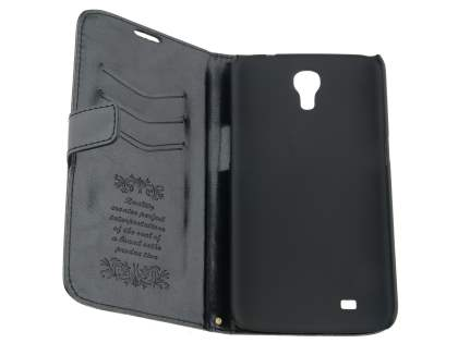 Samsung Galaxy Mega 6.3 I9200 Slim Synthetic Leather Wallet Case with Stand - Classic Black