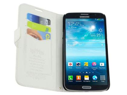 Samsung Galaxy Mega 6.3 I9200 Slim Synthetic Leather Wallet Case with Stand - Pearl White
