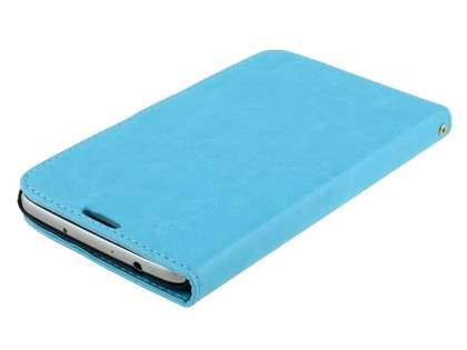 Samsung Galaxy Mega 6.3 I9200 Slim Synthetic Leather Wallet Case with Stand - Aqua Blue