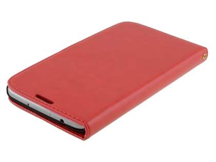 Samsung Galaxy Mega 6.3 I9200 Slim Synthetic Leather Wallet Case with Stand - Red