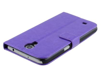 Samsung Galaxy Mega 6.3 I9200 Slim Synthetic Leather Wallet Case with Stand - Purple