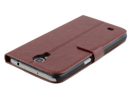 Samsung Galaxy Mega 6.3 I9200 Slim Synthetic Leather Wallet Case with Stand - Chocolate
