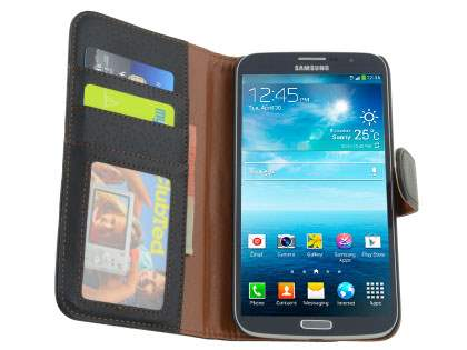 Samsung Galaxy Mega 6.3 I9200 Synthetic Leather Wallet Case with Stand - Classic Black