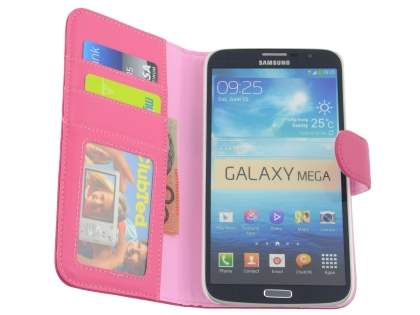 Samsung Galaxy Mega 6.3 I9200 Synthetic Leather Wallet Case with Stand - Pink