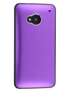Brushed Aluminium Case for HTC One M7 - Purple/Black Hard Case