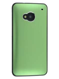 Brushed Aluminium Case for HTC One M7 - Green/Black Hard Case